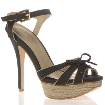 Sinly Shoes Black Bow Sandals 13cm Heel