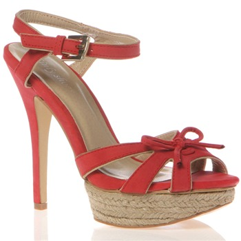 Sinly Shoes Red Bow Sandals 13cm Heel