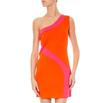 Torrente Robe asymétrique color block orange et fuschia