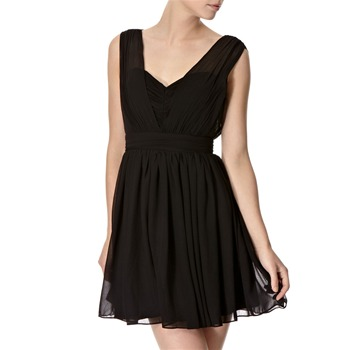 Lipsy Black Lila Pleated Chiffon Dress