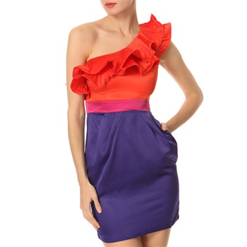 Lipsy Orange/Purple Colour Block Dress