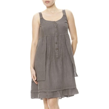 100% lin Taupe Linen Summer Dress