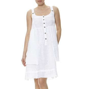 100% lin White Linen Summer Dress