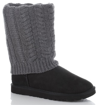 Ugg Australia Black/Grey Detachable Knit Boots