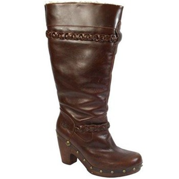 Ugg Australia Chocolate Savanna Leather Boots 10cm Heel