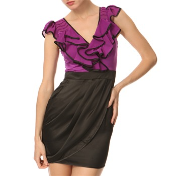 Lipsy Black/Purple Chiffon Frill Dress