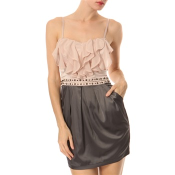 Lipsy Grey Pink Frill Front Dress