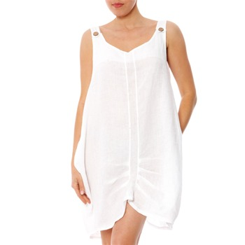 100% lin White Gathered Linen Dress