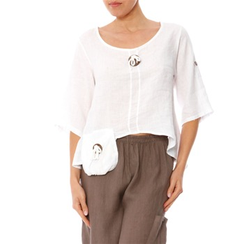 100% lin White Dipped Hem Linen Blouse