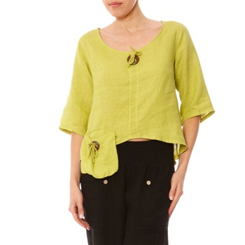 100% lin Lime Dipped Hem Linen Blouse