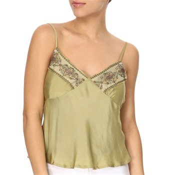 Avoca Anthology Olive Green Mesh Embroidered Camisole Top