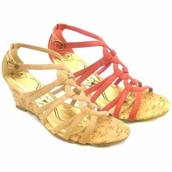 Krush Tan Strappy Wedge Shoes 5cm Heel