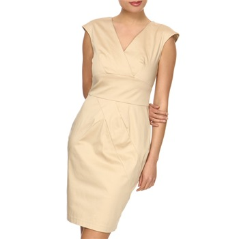 Closet Beige Panelled Pencil Dress