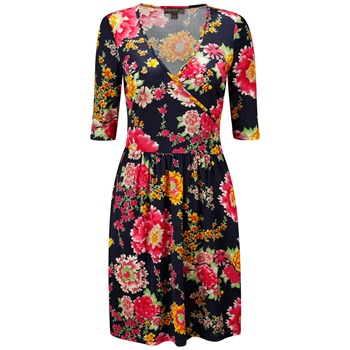 Fever Navy Menorca Floral Wrap Dress