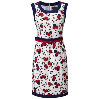 Fever White/Navy Perle Spotty Pencil Dress