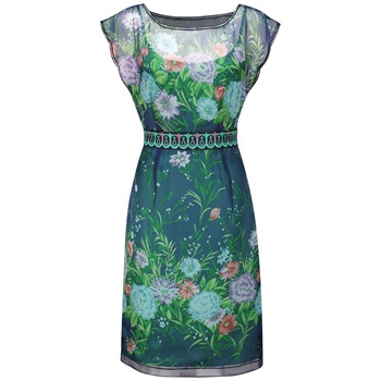 Fever Blue Waimea Oriental Shift Dress