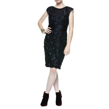 Badgley Mischka Midnight Blue Ribbon Embroidered Dress