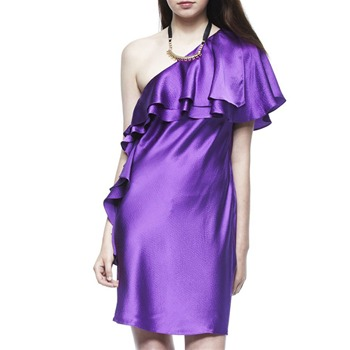 Halston Heritage Purple Ruffle Silk Cocktail Dress
