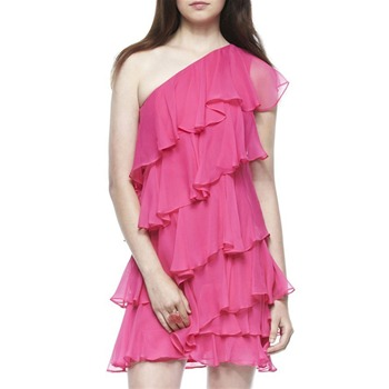 Halston Heritage Pink One Shoulder Ruffle Silk Dress
