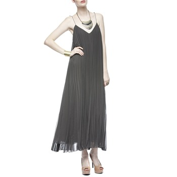 Halston Heritage Grey Pleated Tie Strap Dress