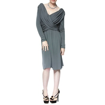 Halston Heritage Grey Wrap Drape Dress