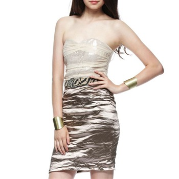 Nicole Miller Brown Sequin/Metallic Dress