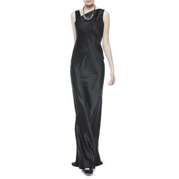 Nicole Miller Black Sequin Back Waterfall Gown