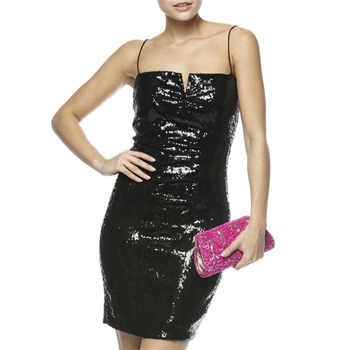 Nicole Miller Black Short Sequin Dress