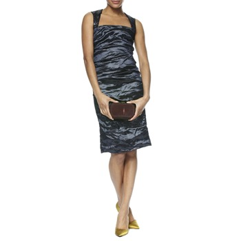 Nicole Miller Grey Ruched Sequin Strap Dress