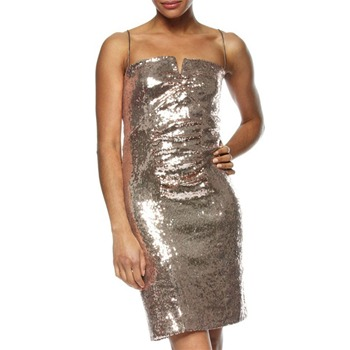 Nicole Miller Gold Metallic Short Sequin Dress