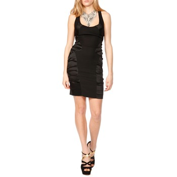 Nicole Miller Black Satin Side Dress