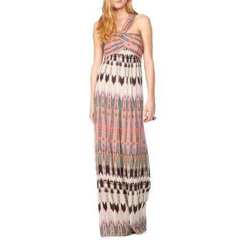 Nicole Miller Pink/Multi Aztec Silk Maxi Dress