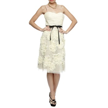 Robert Rodriguez White/Cream Ruffle Flower Silk Dress