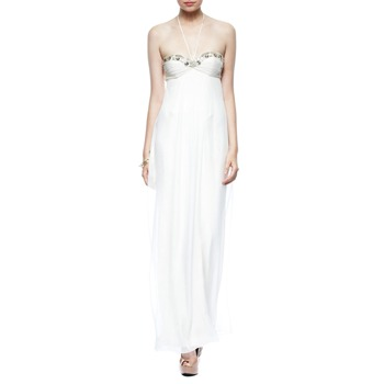 Temperley London Cream Liviana Embellished Silk Dress