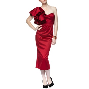 Temperley London Red One-Shoulder Ruffle Dress