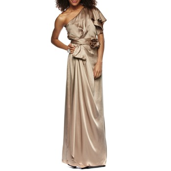 Temperley London Metallic Gold Long Lavanda Silk Dress