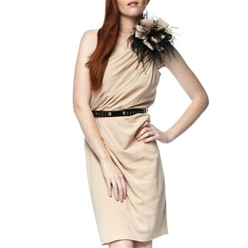 Tracy Reese Nude One-Shoulder Feather Dress