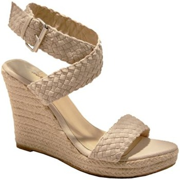 Red Hot Beige Plaited Wedge Sandals 10.5cm Heel