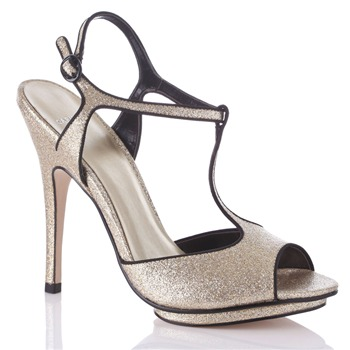 Carvela by Kurt Geiger Gold/Black Lucy Sandals 13cm Heel