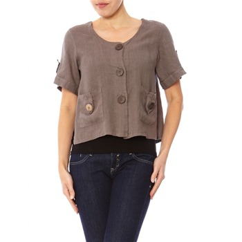 100% lin Taupe Short Sleeved Top