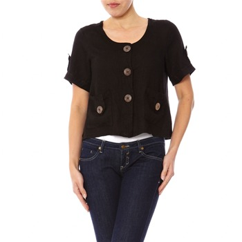 100% lin Black Short Sleeved Top