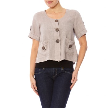 100% lin Beige Short Sleeved Top