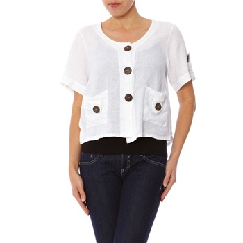 100% lin White Short Sleeved Top