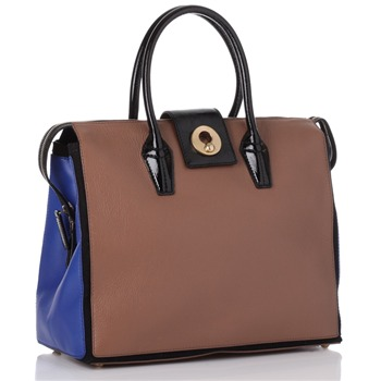 Yves Saint Laurent Brown/Blue Patent Handles Leather Handbag