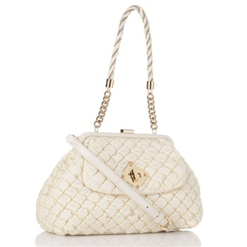 f7bdc6065ccd Moschino White Gold Quilted Nylon Medium Shoulder Bag on PopScreen