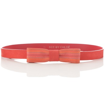 See by Chloé Red Suede Bow Belt