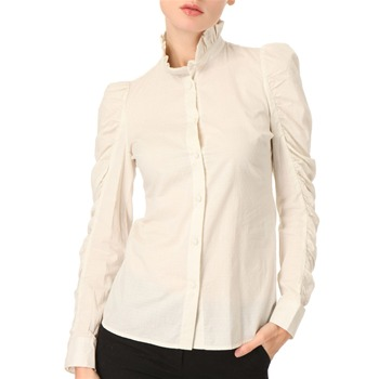See by Chloé Cream Frill Neck Cotton Shirt