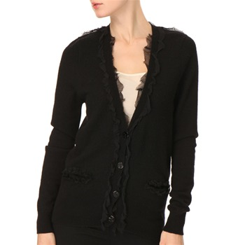 See by Chlo Black Silk-Trimmed Wool-Blend Cardigan