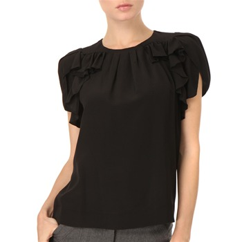 See by Chloé Black Ruffle Front Silk Top