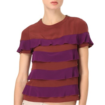 See by Chloé Purple/Port Tiered Silk Top